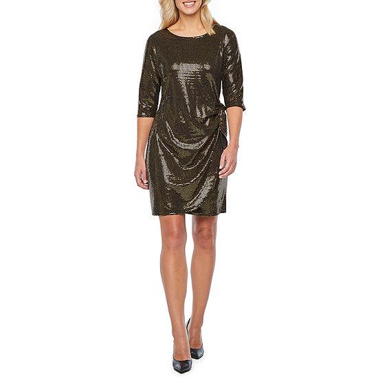 Robbie Bee 3/4 Sleeve Sheath Dress