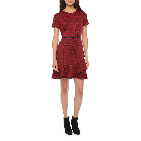 London Style-Petite Short Sleeve Plaid Fit & Flare Dress
