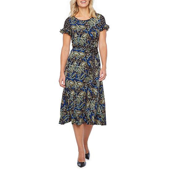 Perceptions-Petite Short Sleeve Paisley Midi Fit & Flare Dress