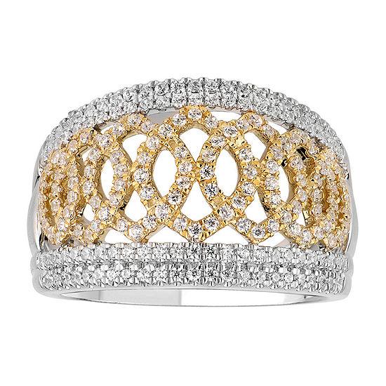 Womens 3/4 CT. T.W. Genuine White Diamond 14K Two Tone Gold Band