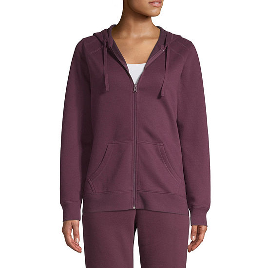 St. John's Bay Active Fleece Hooded Midweight Jacket-Tall