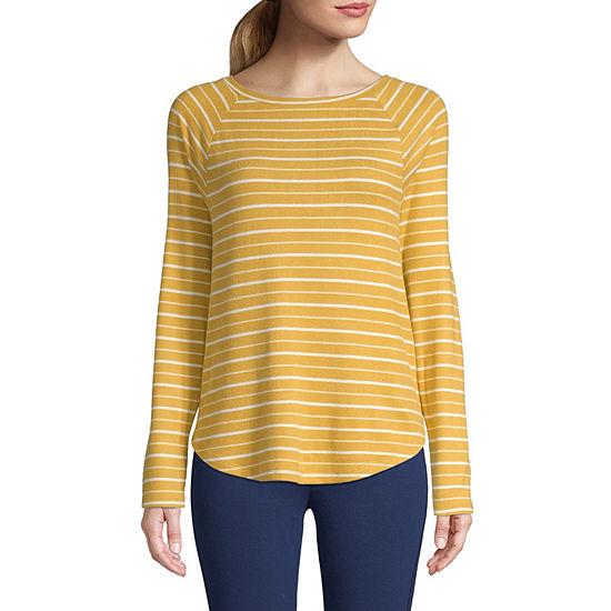 St. John's Bay Active- Womens Super Soft Round Neck Long Sleeve T-Shirt - Tall