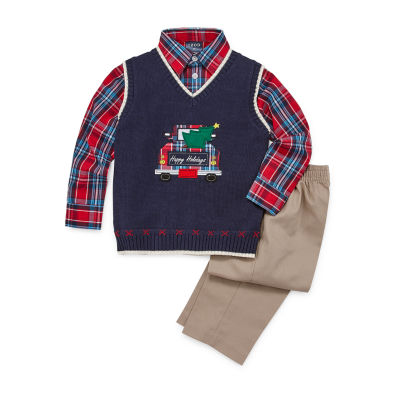 IZOD Christmas Sweater Vest Baby Boys 3-pc. Pant Set