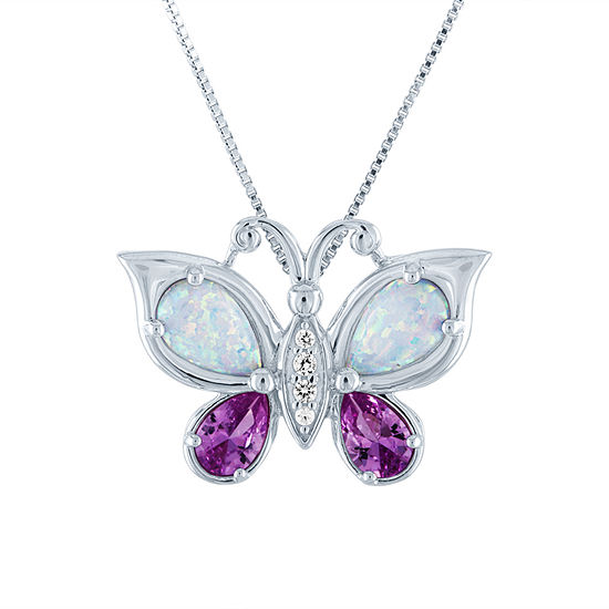 Womens Lab Created Multi Color Opal Sterling Silver Butterfly Pendant Necklace