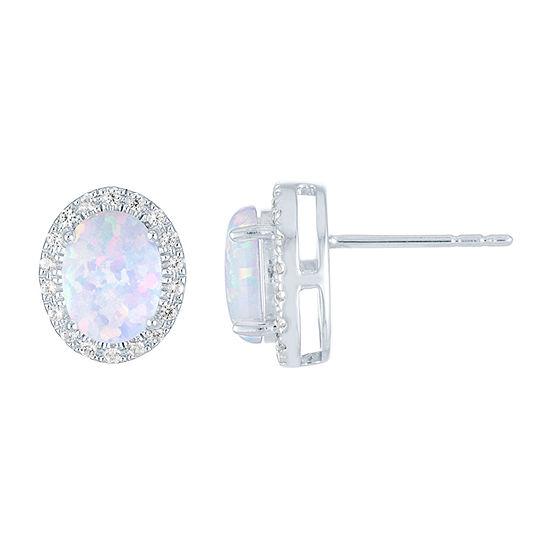 Lab Created Multi Color Opal Sterling Silver 11.5mm Stud Earrings