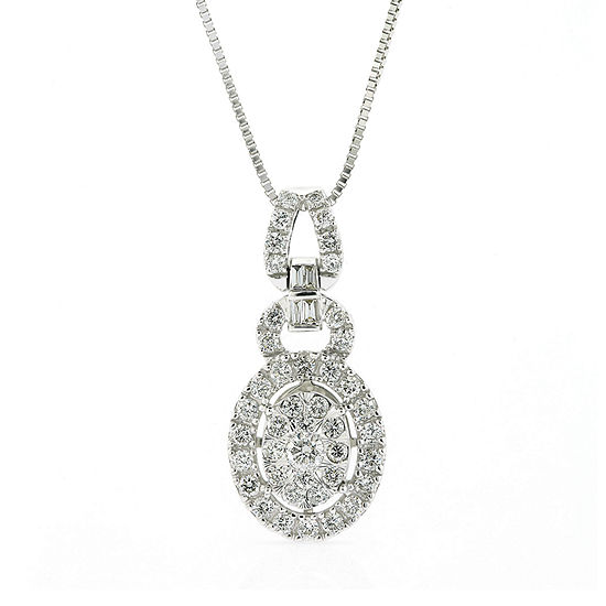 Womens 3/4 CT. T.W. Genuine Diamond 14K White Gold Pendant Necklace