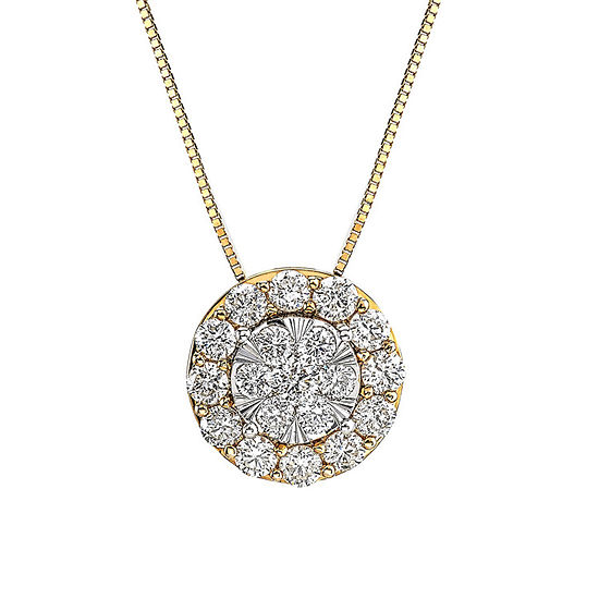 Diamond Blossom Womens 1 CT. T.W. Genuine Diamond 14K Two Tone Gold Pendant Necklace