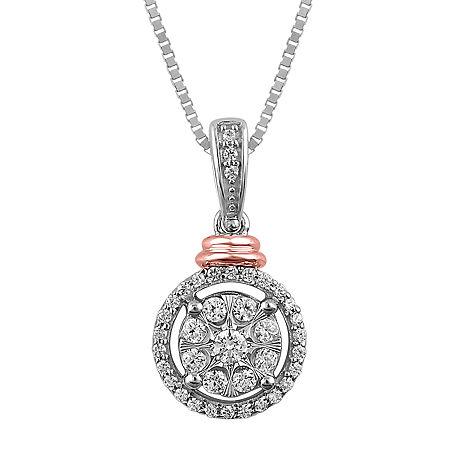 Diamond Blossom Womens 1/5 CT. T.W. Genuine Diamond 10K Two Tone Gold Pendant Necklace, One Size