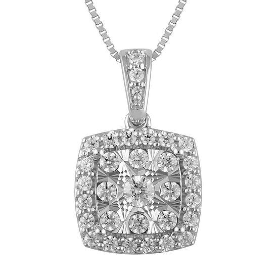 Diamond Blossom Womens 1 1/2 CT. T.W. Genuine Diamond 10K White Gold Pendant Necklace