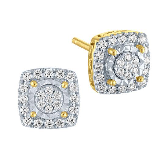 1/3 CT. T.W. Genuine White Diamond 10K Gold Square Stud Earrings