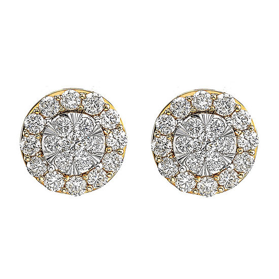 Diamond Blossom 1 CT. T.W. Genuine Diamond 14K Two Tone Gold Earring Set