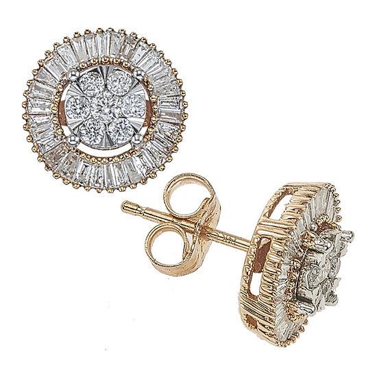 Diamond Blossom 1/2 CT. T.W. Genuine Diamond 14K Two Tone Gold 10mm Stud Earrings