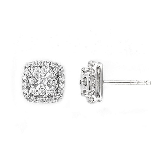Diamond Blossom 1/2 CT. T.W. Genuine Diamond 10K White Gold 8.1mm Stud Earrings