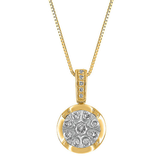 Diamond Blossom Womens 1/4 CT. T.W. Genuine Diamond 10K Two Tone Gold Pendant Necklace