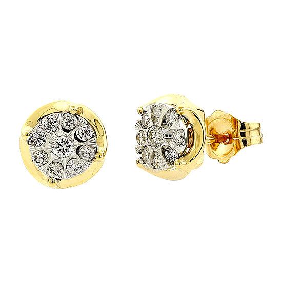 Diamond Blossom 1/4 CT. T.W. Genuine Diamond 10K Two Tone Gold 8mm Stud Earrings
