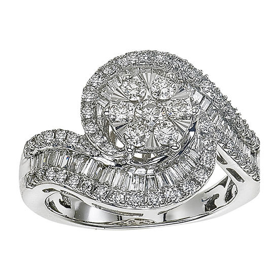 Diamond Blossom Womens 1 CT. T.W. Genuine Diamond 10K White Gold Cocktail Ring