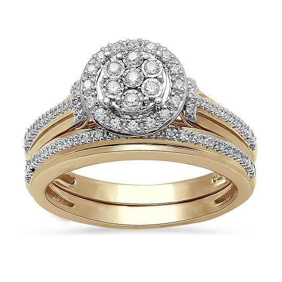 Surrounded by Love Womens 1/4 CT. T.W. Genuine White Diamond 14K Gold Over Silver Sterling Silver Engagement Ring