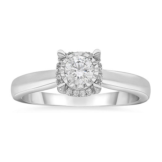 Tru Miracle Womens 1/2 CT. T.W. Genuine White Diamond 10K White Gold Solitaire Engagement Ring