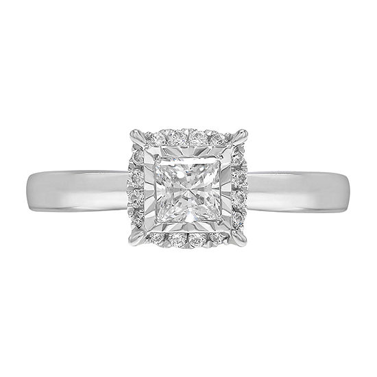 Tru Miracle Womens 1 CT. T.W. Genuine White Diamond 10K White Gold Solitaire Engagement Ring