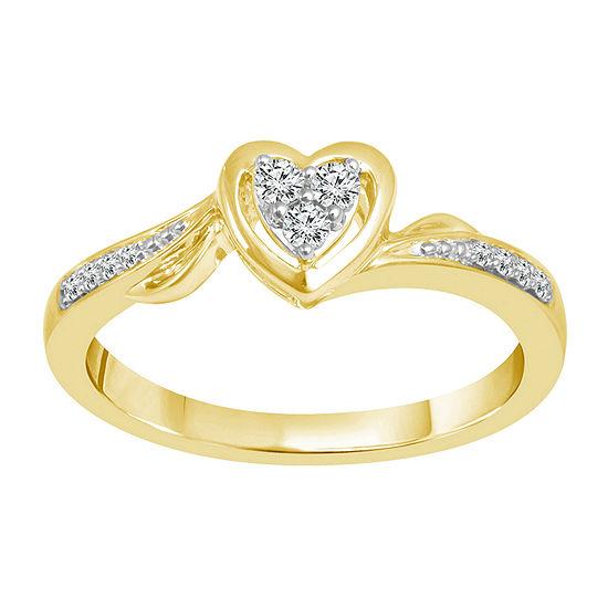 Womens 1/8 CT. T.W. Genuine White Diamond 10K Gold Heart Promise Ring