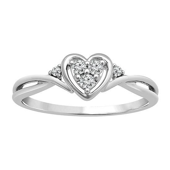 Womens 1/10 CT. T.W. Genuine White Diamond 10K White Gold Heart Promise Ring