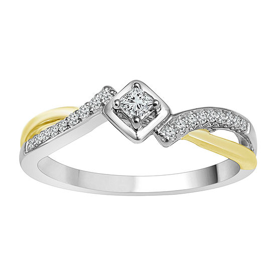 Womens 1/6 CT. T.W. Genuine White Diamond 10K Two Tone Gold Promise Ring