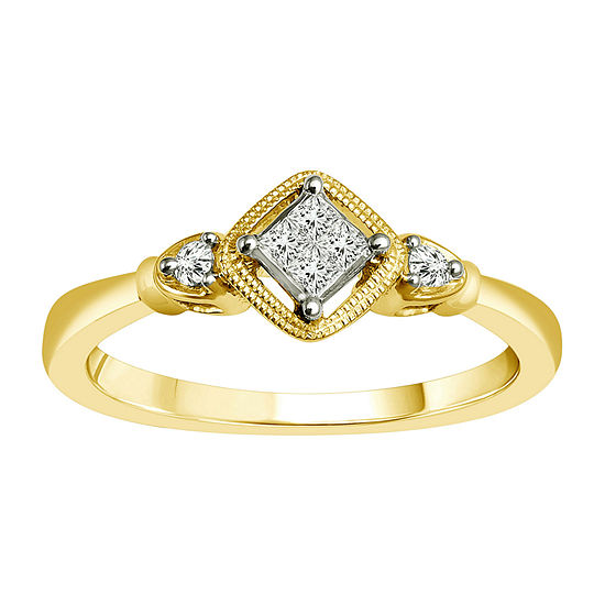Womens 1/10 CT. T.W. Genuine White Diamond 10K Gold Promise Ring