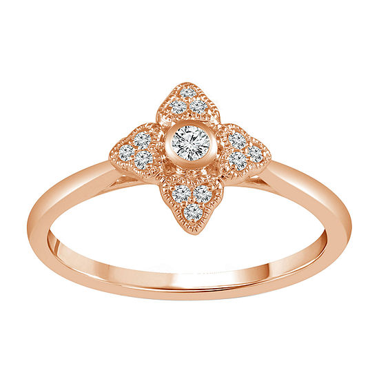 Womens 1/10 CT. T.W. Genuine White Diamond 10K Rose Gold Promise Ring