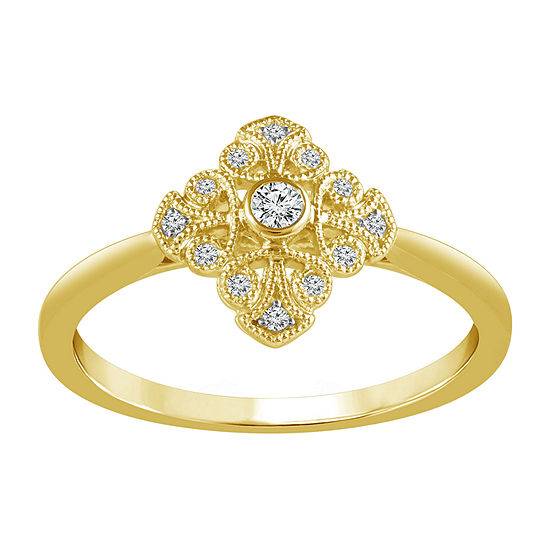 Womens 1/10 CT. T.W. Genuine White Diamond 10K Gold Promise Ring