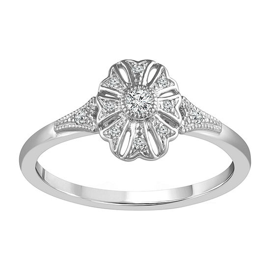 Womens 1/10 CT. T.W. Genuine White Diamond 10K White Gold Promise Ring