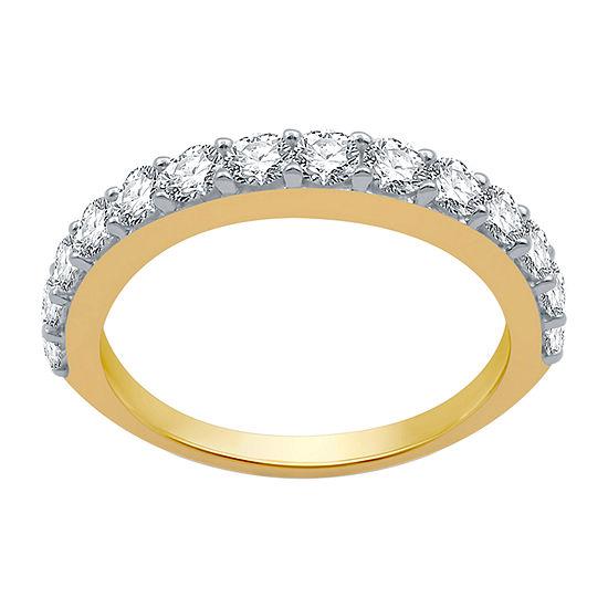 Womens 1 CT. T.W. Genuine White Diamond 10K Gold Wedding Stackable Ring