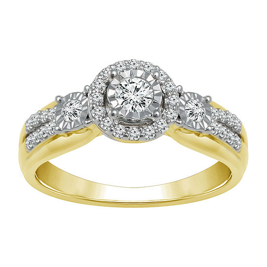 Womens 1/3 CT. T.W. Genuine White Diamond 10K Gold 3-Stone Engagement Ring