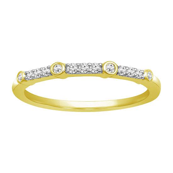 Womens 1/8 CT. T.W. Genuine White Diamond 10K Gold Anniversary Band