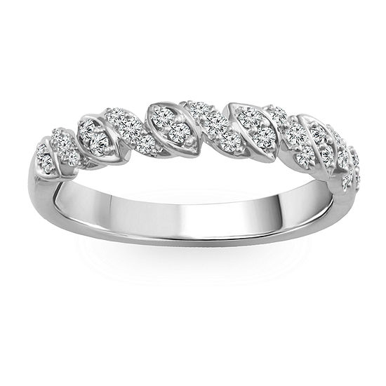 Womens 1/5 CT. T.W. Genuine White Diamond 10K White Gold Anniversary Band