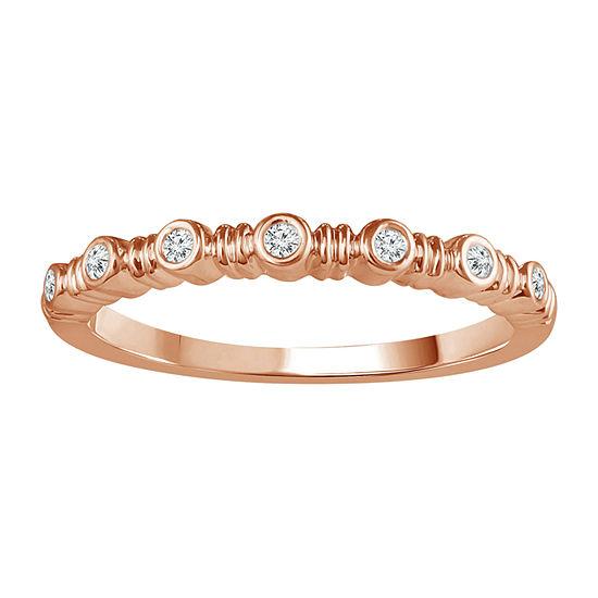 Womens Diamond Accent Genuine White Diamond 10K Rose Gold Band