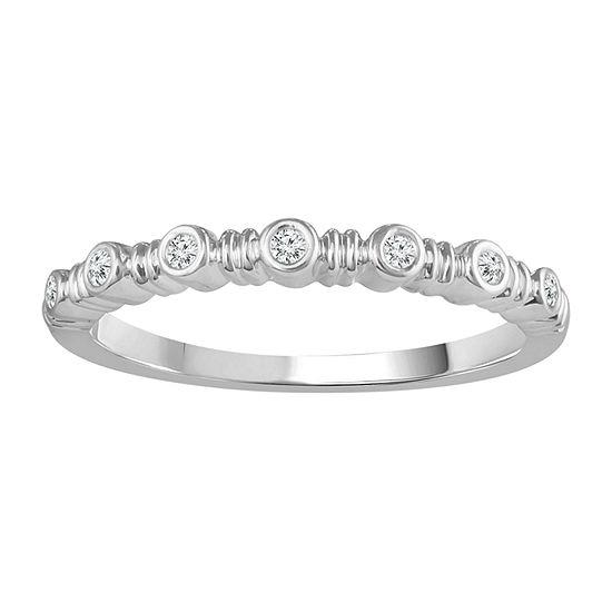 Womens Diamond Accent Genuine White Diamond 10K White Gold Band