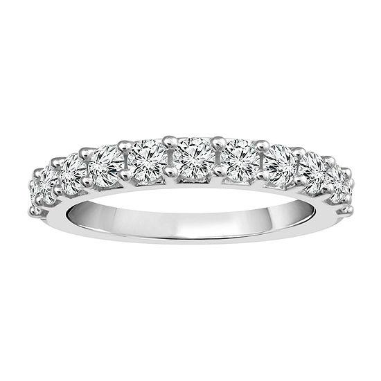 Womens 2.5MM 1 CT. T.W. Genuine White Diamond 14K White Gold Band