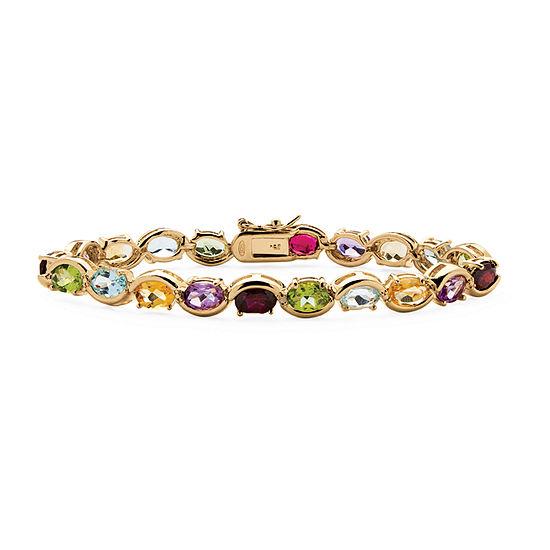 Diamond Accent Genuine Multi Color Stone 18K Gold Over Silver 7 Inch Tennis Bracelet