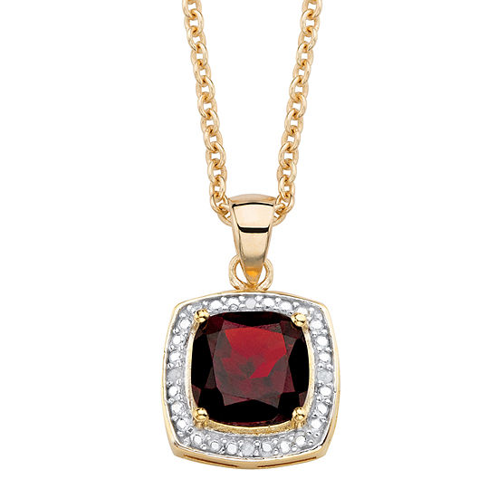 Womens Diamond Accent Genuine Red Garnet 14K Gold Over Silver Pendant Necklace