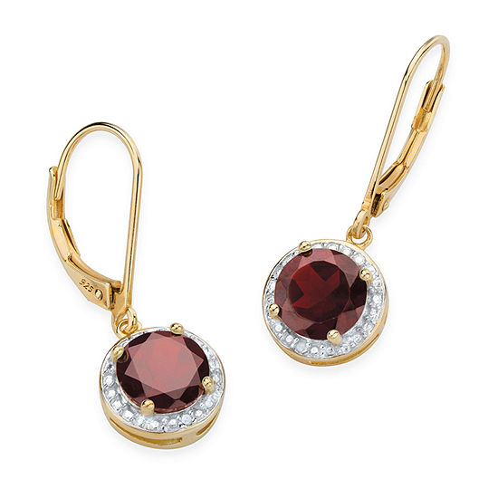 Diamond Accent Genuine Red Garnet 14K Gold Over Silver Drop Earrings