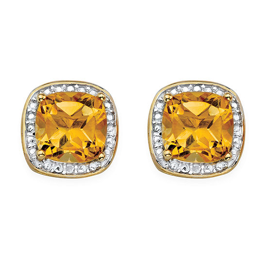 Diamond Accent Genuine Yellow Citrine 14K Gold Over Silver 10mm Stud Earrings