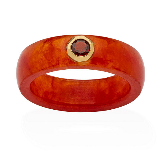Womens 6MM Genuine Red Garnet 10K Gold Band