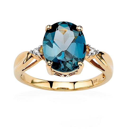 Womens Diamond Accent Genuine Blue Topaz 18K Gold Over Silver Cocktail Ring