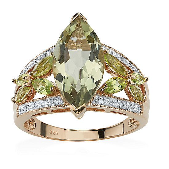 Womens 1/10 CT. T.W. Genuine Green Amethyst 18K Gold Over Silver Cocktail Ring