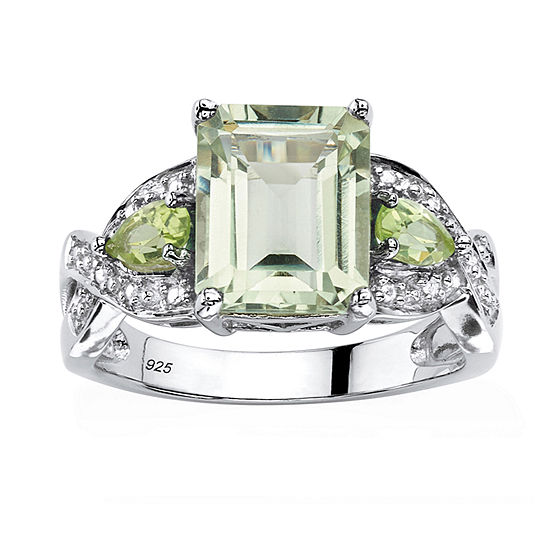 Womens Genuine Green Amethyst Platinum Over Silver Cocktail Ring
