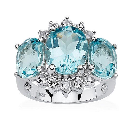 Womens Genuine Blue Topaz Platinum Over Silver Cocktail Ring