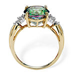 Womens Diamond Accent Genuine Mystic Fire Topaz 18K Gold Over Silver Cocktail Ring