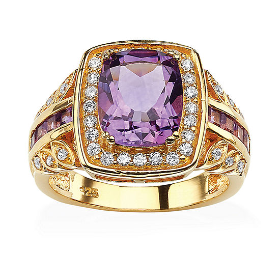 Womens Genuine Purple Amethyst 14K Gold Over Silver Cocktail Ring