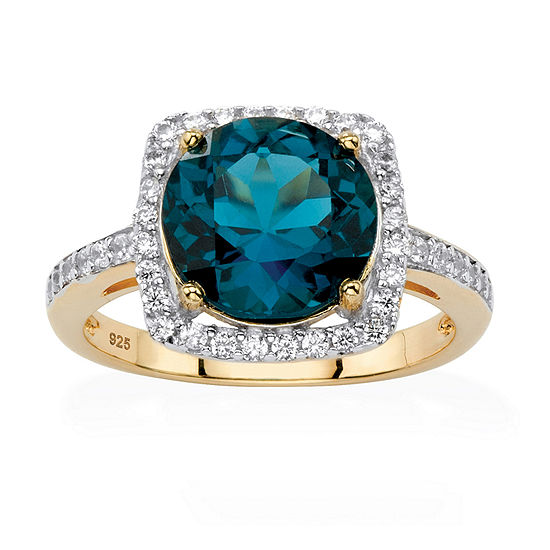 Womens Genuine Blue Topaz 14K Gold Over Silver Cocktail Ring
