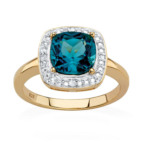 Womens Diamond Accent Genuine Blue Topaz 14K Gold Over Silver Cocktail Ring
